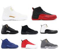 туфли на высоком каблуке оптовых-2018 с коробкой мужские и женские баскетбольные кроссовки кроссовки 12S XII грипп игра королевское такси французский синий для мужчин спортивная обувь High Cut