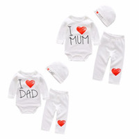 Wholesale hats i love resale online - DHL free Ins Baby kids spring boy girl cotton romper O neck I love mon print style Long Sleeve romper pant hat kids cartoon romper set