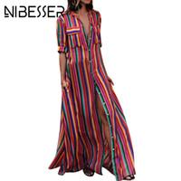 uzun yaz şeritli elbise toptan satış-NIBESSER Kadınlar Yaz Plaj Maxi Elbise 2018 Seksi Yüksek Bölünmüş Sundress Moda Renkli Çizgili Baskı Boho Uzun Parti Elbise Robe