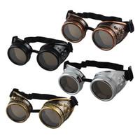 óculos de soldagem vintage venda por atacado-JECKSION Óculos De Sol Dos Homens Steampunk Óculos Óculos de Solda Do Punk Óculos Gótico Cosplay Unisex Do Vintage Vitoriano 4 Cores # LSB25