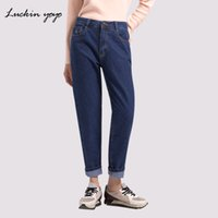 yoyo blue оптовых-Luckin yoyo High Waist Jeans for Women Large Sizes Fashion Blue  Jeans Women 2018 New Casual Denim Pants Pocket Mom