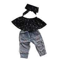 Wholesale hole jeans kids - New 3Pcs Ripped Kids Baby Girls Summer Dot Sleeveless Top +Hole Jeans +Headband 3pcs Clothes