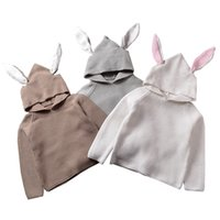 Wholesale cotton baby knitwear - QUIKGROW Quality Textured Cotton Warm Knitwear Baby Boy Girl Long Sleeve Sweater Cute Bunny Rabbit Hooded Outwear Tops YM26MY