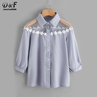 Wholesale equipment blouses - Dotfashion Flower Lace Insert Shirt Blue Lapel Equipment Button Woman Top And Blouse 2017 Autumn 3 4 Sleeve Cute Blouse
