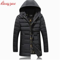 Wholesale Zipper Design Trench Coat - Men Hoodies Cotton Coats Brand Design Winter Warm Snow Thick Long Parkas Casual Slim Fit Windproof Trench Coats F2361