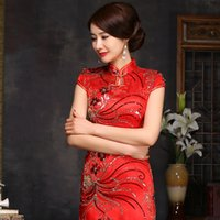 Wholesale lace qipao wedding dress online - traditional chinese wedding dress cheongsam red cheongsam silk bridesmaid modern qipao long red lace oriental style dresses
