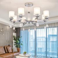 modern lüks kristal avizeler kolye lambası toptan satış-Modern moda lüks kristal LED Krom renk metal Avizeler Aydınlatma avize Kolye çift cam gölge Fikstürü Lamba kapalı oda Için
