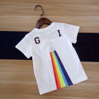 niños arco iris t shirts al por mayor-Nuevo patrón 2018 verano impresión de arco iris niños de manga corta camiseta diseño de moda de alta calidad de algodón camiseta para los niños