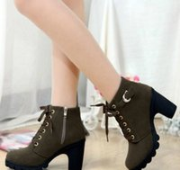 Wholesale thick punk boots - 2018 New High quality woman boots fashion thick heel motorcycle female black Martin boots shoes zapatos mujer ankle platform punk