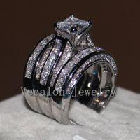 joyas de oro de 14kt al por mayor-Vecalon Fine Jewelry corte princesa 20ct 5A circón cz anillo de la venda de boda para las mujeres 14KT anillo relleno de oro blanco