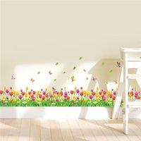 ingrosso tulipano murale-Colorful Tulip Fiori Recinzioni Battiscopa Wall Stickers Per Bambini Camere Home Decor Pvc Adesivos De Paredes 3d Mural Art