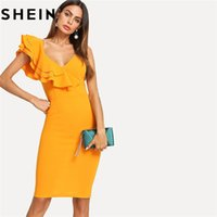 ruffled dress women großhandel-SHEIN Sleeveless Rüschen Layered Volant Trim Split Zurück V-Ausschnitt Partei Bodycon Kleid Frauen Sommer Knielangen Schlank Pencil Dress