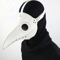 máscara de couro falso venda por atacado-Ajustável Branco Peste Médico Máscara Pássaros Longo Nariz Bico Faux Leather Steampunk Halloween Traje Adereços Frete Grátis G219S