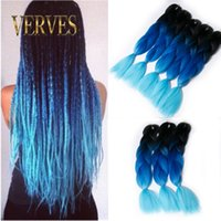 Wholesale three tone ombre braiding hair resale online - three tone blue Braiding Hair inch Synthetic Jumbo Braids g piece ombre color Fiber Hair Extensions