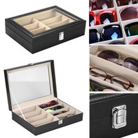 Wholesale portable jewelry storage case - Eyeglasses Sunglasses Glasses Organizer For 8 Pieces Portable Storage Box Case Organizer Jewelry Dispay Grid Boxes OOA4613