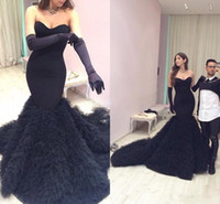 Wholesale white prom gloves - Sweetheart Mermaid Sheath NOT including the Gloves Sweep Train Sexy Black Evening Dresses Prom Dresses New