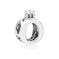 925 joyas de plata encantos de la corona al por mayor-Nuevo Auténtico Plata Esterlina 925 Logo de la Marca Crown O Charm Beads Fit Pandora Charms Pulsera Joyería DIY