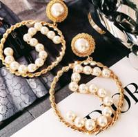 grandes tachuelas de oro al por mayor-Número de lujo 5 cuelgan los pendientes de gota Hueco círculo grande pendiente 14k orejas de oro Studs mujeres chica regalo de la joyería del banquete de boda