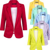 blazer für frauen farbe blau großhandel-CAINIKAIER Beiläufiger Frauen-Blazer-Süßigkeit-Farben-Wolljacke-gekerbter Kragen-Art- und Weisedamen-Jacken-Mantel Schwarzer weißer blauer Blaser Feminino