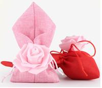 Wholesale Full Moving - 2018 Burlap Wedding Bag Personality Full Moon Birthday Rewards Candy Bundle Pocket Customize Rose Flower Wedding Supplies Return Gifts