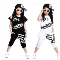 Wholesale hip hop suits girls - Summer Girls Clothing Sets Cute Kids Girls Hip Hop Costume Outfits 2Pcs Suits Short Sleeve Top and Black Harem Pants Size 5-14