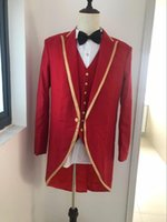 Wholesale coat tie for men - Tailor Made Red Long Coat Wedding Suit For Men 3Pieces(Jacket+Pant+Vest+Tie) Prom Masculino Trajes De Hombre Blazer 768