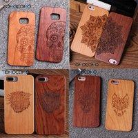 ingrosso casi tribali samsung-Per iPhone6 6Plus 7 7Plus 8 8Plus indiano Mandala Elephant Tribal Skull Cat Owl Custodia in legno per SAMSUNG S7 Edge S8 plus