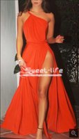 Wholesale Cheap Sexy Legging - 2018 Cheap Fashion Orange Prom Dresses One Shoulder Pleats Sexy High Leg Split Draped Chiffon Formal Celebrity Runway Evening Wear dresses