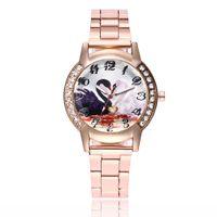 bilder uhren großhandel-Beiläufige Dame-Edelstahl-Uhr-2018 arabische Digital-Skala-Schwan-Bild-Dichtungs-Quarz-Armbanduhr horloge Dameleder a65