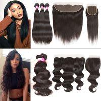 Wholesale Natural Wavy Black Hair - Brazilian Virgin Hair Bundles with Closure Wet and Wavy Straight Remy Human Hair 3 bundles with frontal closure or 4x4 Top Weaves Closure