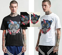 leopar desenli mens tişört toptan satış-2018 yeni Avrupa erkek Leopar baskı t shirt en kaliteli pamuk t gömlek moda casual Tasarımcı tshirt tee tops
