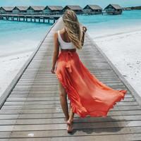 Wholesale orange swimsuit skirt - Beach Skirt Summer Beachwear Beach Sarongs Bathing Suit Women Swimsuit Beach Cover Ups Swimwear Saida De Praia Long Maxi Skirt