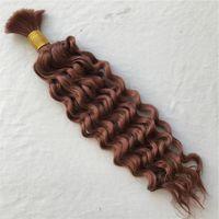 xpression hair weaves venda por atacado-Não processado Cabelo Humano Brasileiro Onda Profunda Cabelo A Granel para Trança # 33 Cabelo Encaracolado Em Massa Sem Trama FDshine