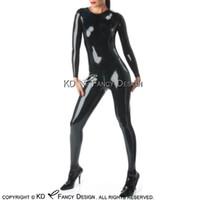 kauçuk kasığı toptan satış-Siyah Seksi Lateks Catsuit Ayak Çorap Yuvarlak Yaka Geri Crotch Fermuar Kauçuk Bodysuit Genel Zentai Vücut Suit LTY-0226