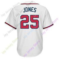Wholesale Atlanta Baseball Jersey - 25 Andruw Jones Jersey Hall Of Fame Atlanta Baseball Jerseys Home Away White Grey Cream Men Women Youth S 4XL 5XL