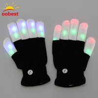 schwarze leichte party liefert großhandel-2pcs LED Glow Handschuhe Rave Light Flashing Finger Beleuchtung Handschuhe Magic Black Gloves Party Supplies Weihnachtsdekoration