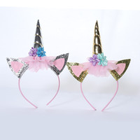 Wholesale Hair Hoops For Girls - gold  silver unicorn headband horn with flower hair hoop for baby girls birthday party DIY crafts hair decor accessories
