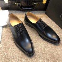 zapatos de trabajo casual de negocios hombres al por mayor-Hombres Diseñador de la marca Zapatos de lujo Vestido formal Negocios Brogue Negocios Zapatos casuales Hombre Oficina de la boda Trabajo de cuero genuino Oxford Zapatos