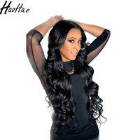 кружевные бразильские парики оптовых-Haohao hair 10A Парики из натуральных волос для чернокожих женщин Brazilain Перуанский Большой Bodywave Loosewave Полные парики шнурка и парики фронта шнурка