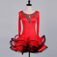 Wholesale Long Ballroom Dance Dresses - Adult Girls Latin Dance Dress Salsa Tango Ch cha Ballroom Competition Dance Dress Red Rhinestone Applique Long Sleeve Dress Free Custom