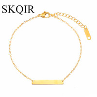 kundenspezifisches armband personifizieren sie großhandel-SKQIR Bar Armband Femme Custom eingraviert Name Armband Gold Edelstahl Schmuck personalisierte erste Armbänder für Frauen