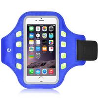 Wholesale Led Running Lights Inch - LED Light Sport Running Armband Phone Holder 5.5 inch Mobile Case Arm Band Pocket Bag for iPhone Samsung HTC