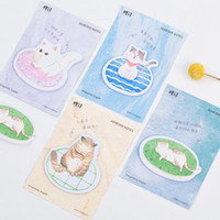 Wholesale Cats Bookmarks - Lovely Lazy Cat Pet Memo Pad N Times Sticky Notes Escolar Papelaria School Supply Bookmark Post it Label