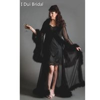Wholesale feather trimmer - Handmade chiffon dressing gown robe marabou feather trim standard or plus size custom Make Evening Prom Party Robe