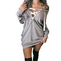 Wholesale mini hoodies - Sexy Deep V Neck hoodie Dress Women Autumn Long Sleeve Lace Up Loose Party Dresses Vestidos Casual Club Mini Dress