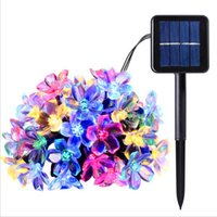 Wholesale fairy flower garden - Solar LED Lights 21ft 50 LEDs Fairy Flower Blossom Christmas Party Lights Garden Lamp Waterproof Outdoor Night Lights