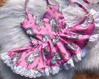 Wholesale Little Girl Suspender Style - 2018 new designs infant baby girl little pony suspender dress little kids lace princess party dress