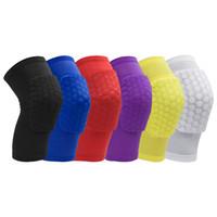 basketbol diz şortları toptan satış-Petek Kısa Diz Pedleri Kollu Basketbol Voleybol Koşu Futbol için Rahatlatır Ağrı Koruyucu Ped Diz Bacak Brace Ücretsiz Nakliye G314S