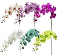 weiße blaue mittelstücke großhandel-Seiden-Phalaenopsis-Orchidee blüht einzelne Stamm-Motte-Orchidee für Hochzeits-Mittelstücke Künstliche dekorative Blumen weiß / blau / purpurrot / grün