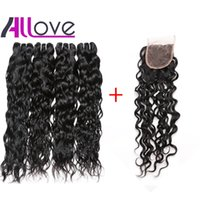 Wholesale dark burgundy weave hair resale online - 28inch Water Wave with Lace Closure Malaysian Virgin Hair Wefts Body Wave Brazilian Hair Indian Curly Hair Extensions Deep Loose Wave